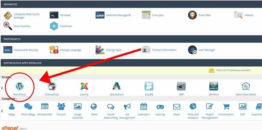 Cpanel WordPress Installation Softaculous